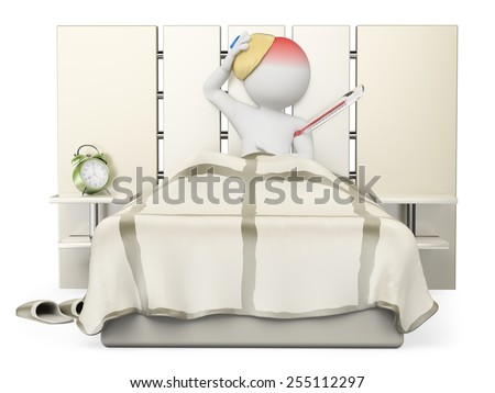 3d white people. Man lying in bed with flu and fever. Isolated white background. - stock photo