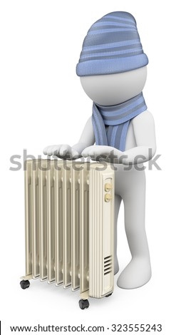 3d white people. Man warming up with a radiator with wool cap and scarf. Isolated white background. - stock photo