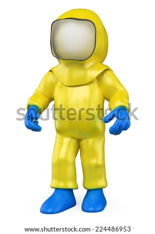 3d white people. Man with a biohazard suit by a biological warning. Biohazard. Isolated white background. - stock photo