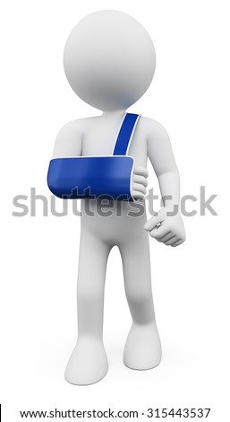 3d white people. Man with arm in sling. Isolated white background. - stock photo