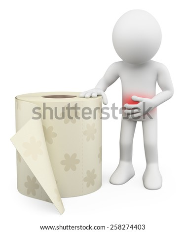 3d white people. Man with stomach ache. Diarrhea. Toilet paper. Isolated white background. - stock photo