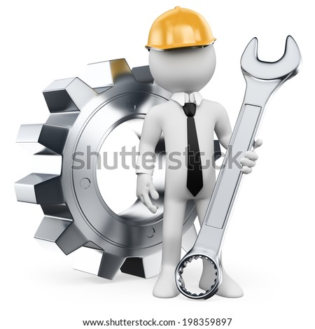 3d white people. Mechanical Engineer with a combination wrench and gear. Isolated white background. - stock photo