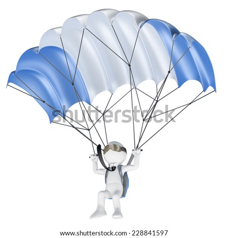 3d white people. Minimize financial risks concept. Businessman flying with a parachute. Isolated white background.  - stock photo