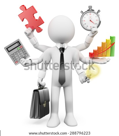 3d white people. Multitasking businessman with puzzle piece calculator graphic stopwatch bulb. Isolated white background. - stock photo