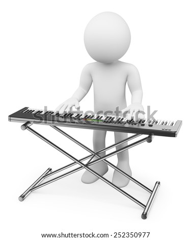 3d white people. Musician playing keyboard. Piano. Isolated white background. - stock photo