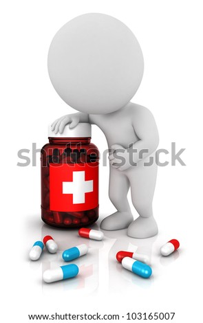 3d white people needs medicines with blue and red pills, he leaned on a medicine bottle, isolated white background, 3d image - stock photo