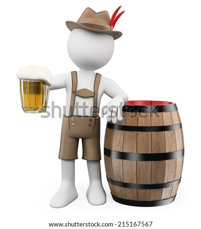 3d white people. Oktoberfest. Man with a beer barrel and a mug. Isolated white background.  - stock photo