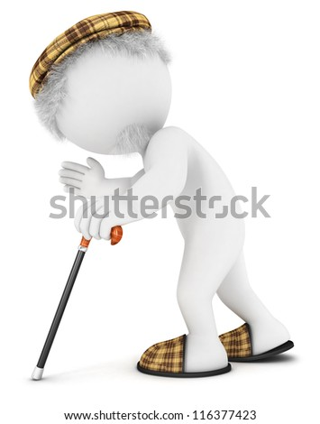3d white people old man walking with cane, isolated white background, 3d image - stock photo