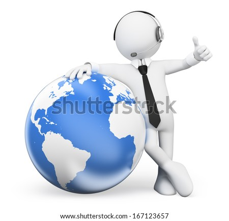 3d white people. Operator leaning in the world with thumb up. Isolated white background.  - stock photo