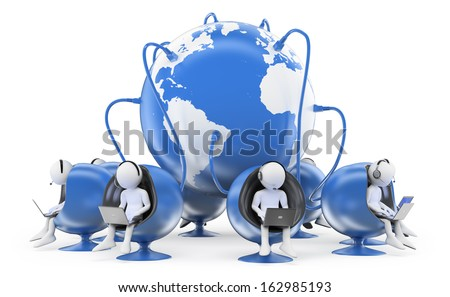 3d white people. Operators in global call center. Isolated white background.  - stock photo