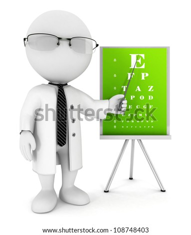 3d white people optician pointing an eye chart, isolated white background, 3d image - stock photo