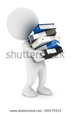 3d white people overworked with a lot of files isolated white background, 3d image - stock photo