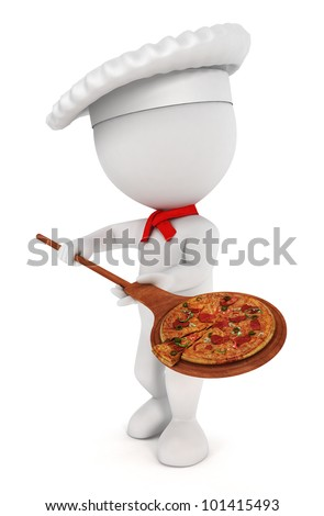 3d white people pizza cook with  a pizza , a spatula and a chef hat - stock photo