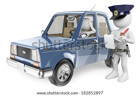 3d white people. Police imposing a fine on a driver. Isolated white background. - stock photo