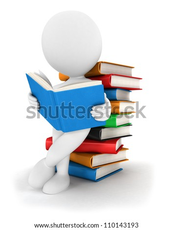 3d white people reads a book, leaning back against a pile of books, isolated white background, 3d image - stock photo