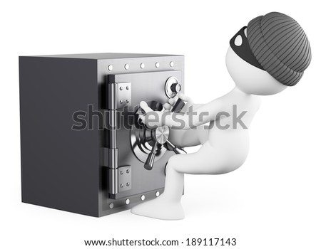 3d white people. Robber stealing a safe. Isolated white background.  - stock photo