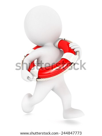 3d white people running lifeguard, isolated white background, 3d image - stock photo