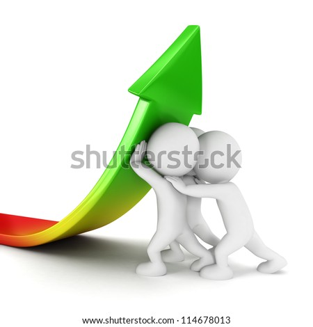 3d white people sales growth, isolated white background, 3d image - stock photo