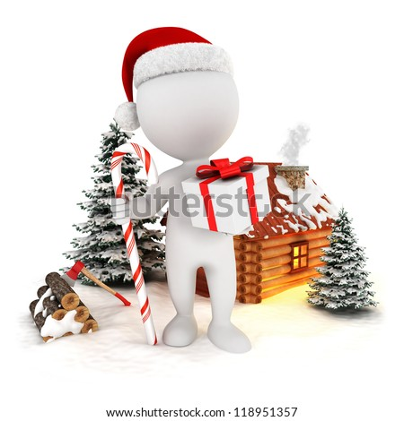 3d white people santa claus in a christmas scene, isolated white background, 3d image - stock photo