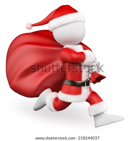 3d white people. Santa Claus running with big bag full of gifts. Isolated white background.  - stock photo