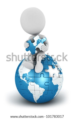 3d white people seated on blue earth puzzle with a piece in the hands, isolated white background, 3d image - stock photo