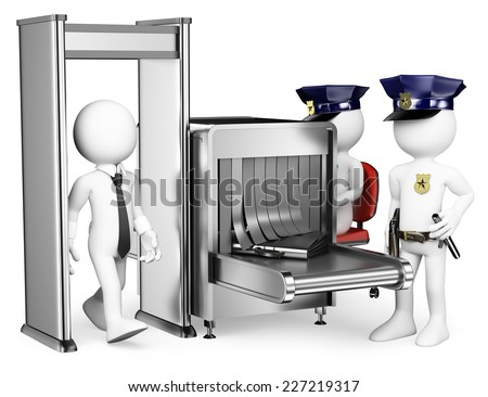 3d white people. Security control airport access with two policemen. Metal detector. Isolated white background. - stock photo