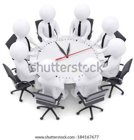 3d white people sitting at the round table. On the table a large clock. The concept of time - stock photo