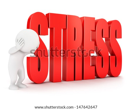 3d white people stress, isolated white background, 3d image - stock photo