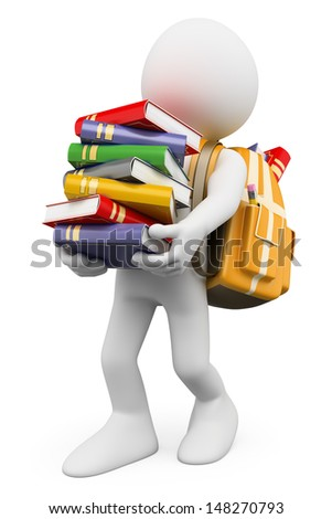 3d white people. Student carrying a stack of books back to school. Isolated white background. - stock photo