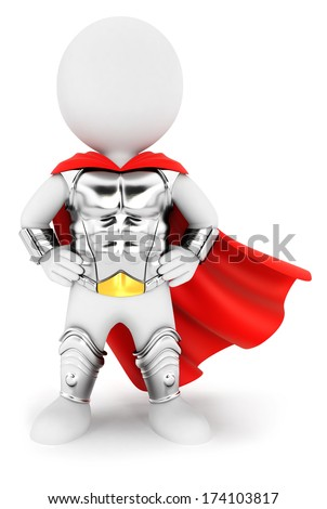 3d white people superhero with an armour, isolated white background, 3d image - stock photo