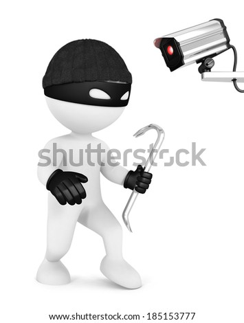 3d white people thief and security camera, isolated white background, 3d image - stock photo