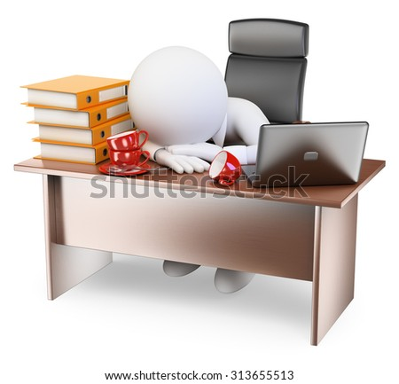 3d white people. Very sleepy businessman back to work after holidays. Isolated white background. - stock photo