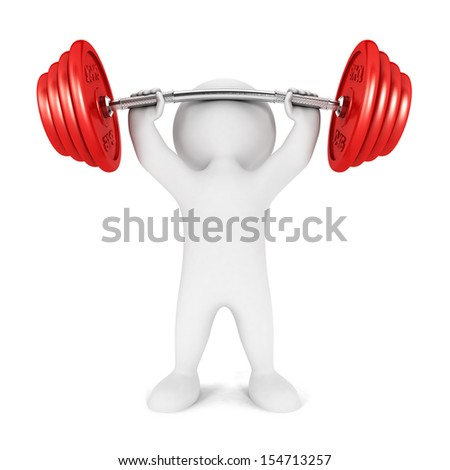 3d white people weightlifting, isolated white background, 3d image - stock photo