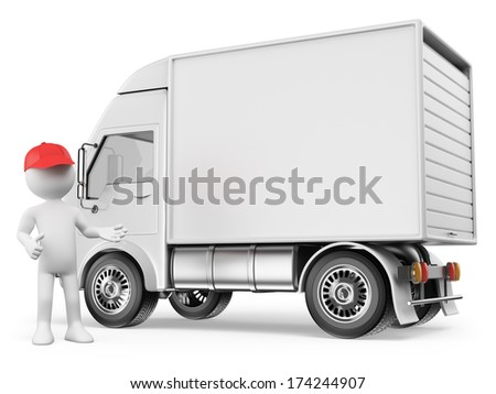 3d white people. White delivery truck with blank sides ready for custom text and logos . Isolated white background.  - stock photo