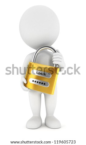 3d white people with a padlock, isolated white background, 3d image - stock photo