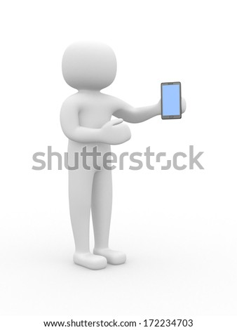 3d white people with a smartphone, isolated white background, 3d render illustration - stock photo