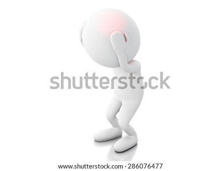 3d white people with headache. Stress concept Isolated white background - stock photo