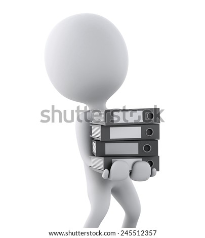 3d white people with office ring binders. isolated white background. 3d renderer illustration - stock photo