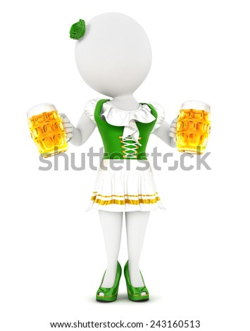 3d white people woman oktoberfest, isolated white background, 3d image - stock photo
