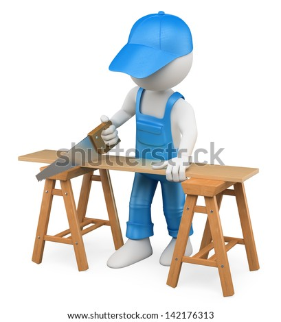 3d white person carpenter cutting wood with a handsaw. Isolated white background. - stock photo