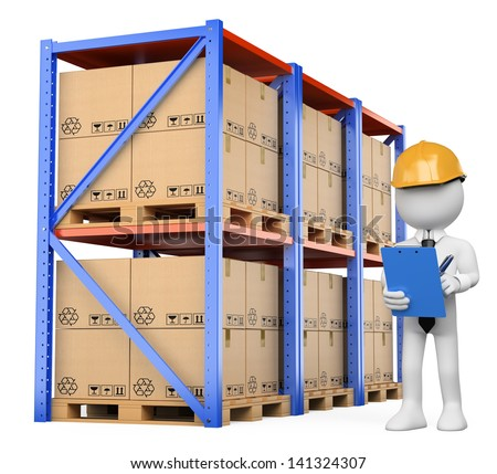 3d white person checking the warehouse. Isolated white background. - stock photo