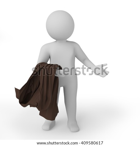 3d white person embarrassed. Isolated white background. 3D rendering. - stock photo