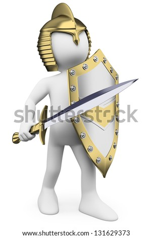 3d white person golden helmet, sword and shield. 3d image. Isolated white background. - stock photo