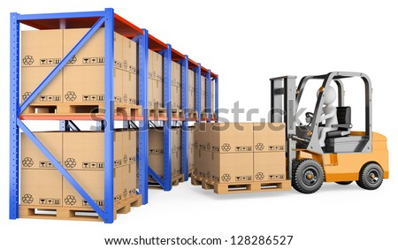 3d white person storing a pallet in a warehouse. 3d image. Isolated white background. - stock photo