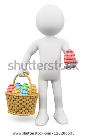 3d white person with a basket full of Easter eggs. 3d image. Isolated white background. - stock photo