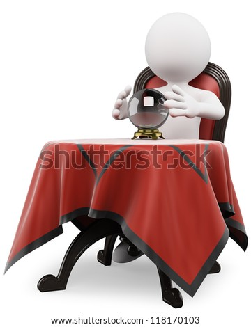 3d white person with a crystal ball on a table sitting on a old chair. 3d image. Isolated white background. - stock photo