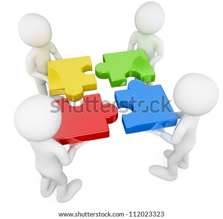 3d white persons solving a puzzle. 3d image. Isolated white background. - stock photo