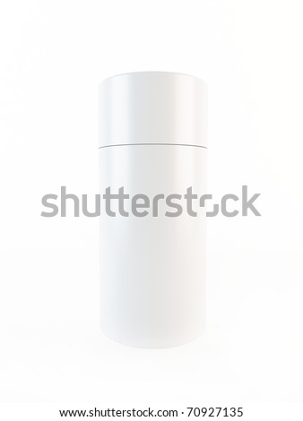 3D white plastic container - stock photo