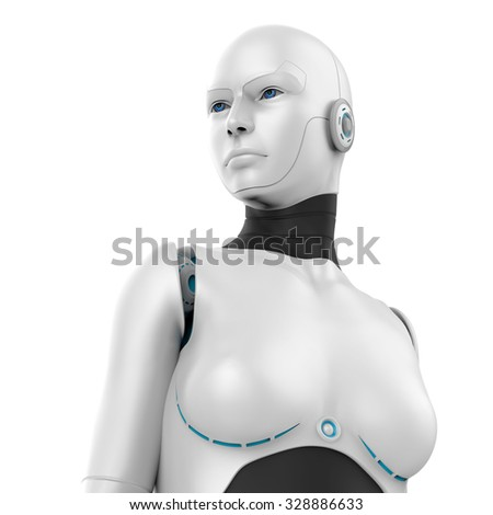 3d white robot girl isolated on white background - stock photo