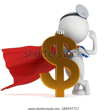 3d white super doctor stand with golden dollar sign. Thumbs up. Render isolated on white.  Medical insurance concept. - stock photo